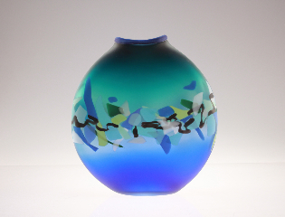 Emerald green-blue Phoenix Vessel